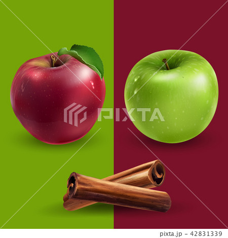 Cinnamon, green and red apples 42831339