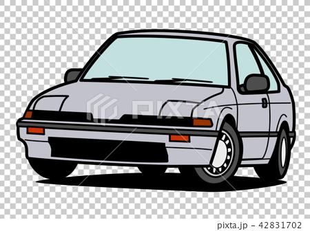 Nostalgia國內生產緊湊小轎車灰色汽車例證 42831702