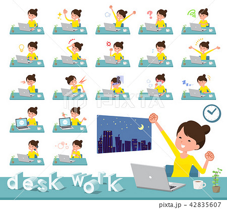 flat type Bun hair mom_desk work 42835607