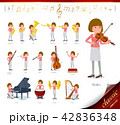 女性 人物 楽器のイラスト 42836348