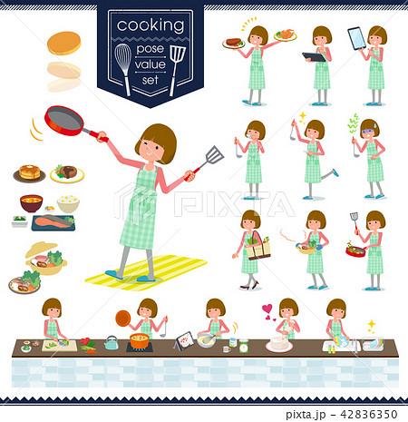 flat type Straight bangs hair women_cooking 42836350