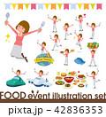 flat type Straight bangs hair women_food festival 42836353