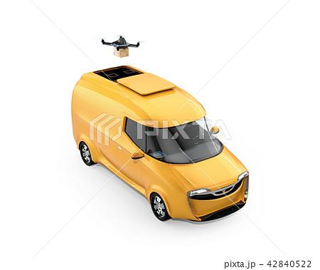 宅配ドローンが電動デリバリーバンから飛び立つイメージ。白バック。 42840522