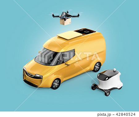 宅配ドローン、デリバリーロボット、電動宅配車のイメージ。ラストワンマイルのコンセプト 42840524
