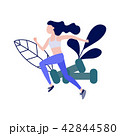 Sportive slim girl jogging or running vector 42844580