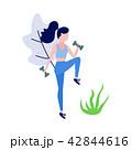 Sportive slim girl doing exercise with dumbbells 42844616