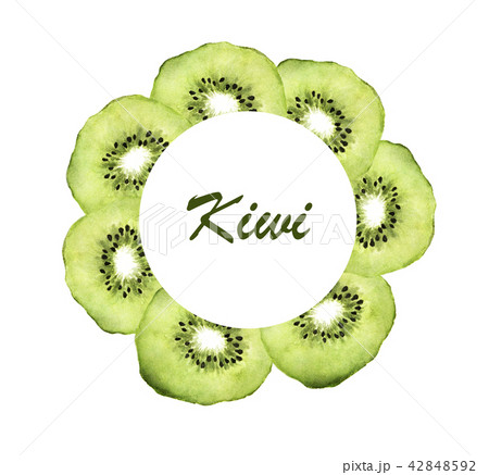 Slice of fresh kiwi fruit circle frame, Watercolor 42848592