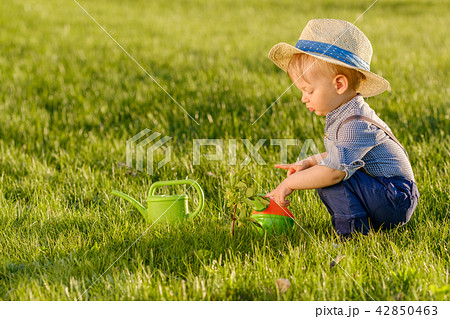 Toddler child outdoors. One year old baby boy wearing straw hat using watering can 42850463