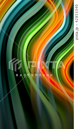 Fluid colors abstract background, twisted liquid design on black, colorful marble or plastic wave 42853340