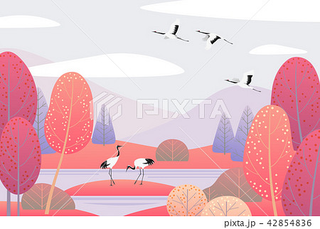 Nature Scene with Japanese Cranes and Autumn Trees 42854836