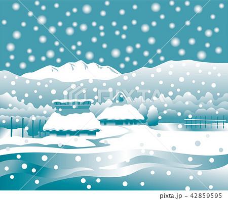田舎の雪景色 42859595
