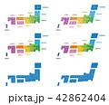 日本地図 日本 色区分のイラスト 42862404