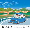 ドライブ 家族 紅葉のイラスト 42863657