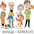 家族 ペット 笑顔のイラスト 42864125