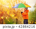 Child standing with umbrella in beautiful autumnal day 42864216