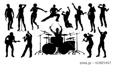 silhouettes rock or pop band musicians のイラスト素材 42865407 pixta