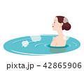 露天風呂 温泉 女性のイラスト 42865906