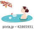 露天風呂 温泉 紅葉のイラスト 42865931