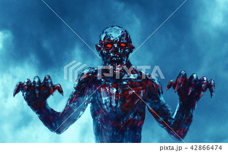 Dark bloody zombie stretches out clawed hands. 42866474