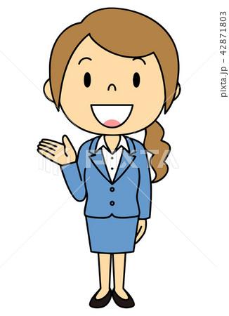 女性 OL 事務員 バリエーション ご案内 立ち姿 42871803