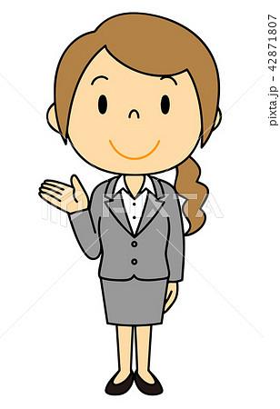 女性 OL 事務員 バリエーション ご案内 立ち姿 42871807