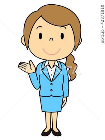 女性 OL 事務員 バリエーション ご案内 立ち姿 42871810