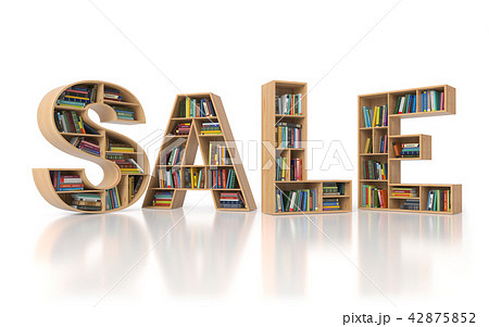 Sale from bookshelf with book in form of letters 42875852