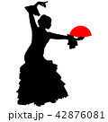 flamenco dancer with a red fan 42876081