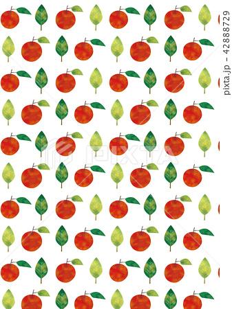 水彩風 りんごと葉っぱパターン 42888729