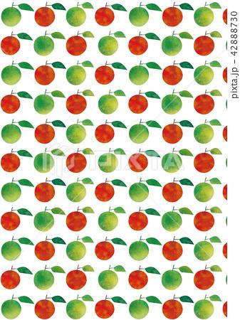 水彩風 グリーンアップルとアップルパターン 42888730