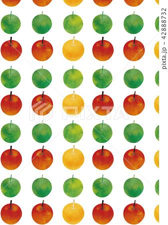 水彩風 グリーンアップルとアップル&黄色いりんご 42888732