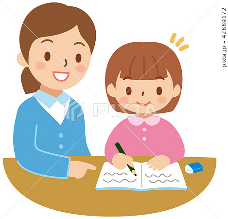 勉強する子供と女性 42889172