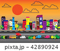 Ci tyscape with buildings and vehicles. 42890924