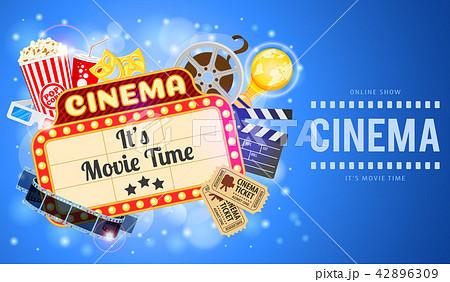 cinema and movie bannerのイラスト素材 42896309 pixta