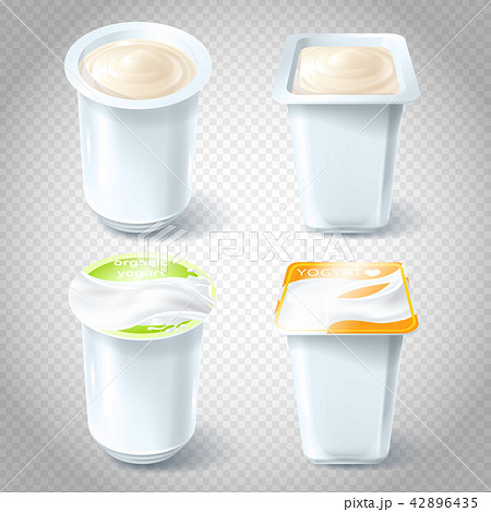 Set of illustrations of plastic yogurt cups. 42896435