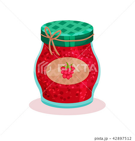 Glass jar with raspberry jam. Home made product. Organic and healthy food. Flat vector for promo 42897512