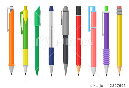 Flat vector set of colorful pens and pencils. Stationery supply. School or office tools for writing 42897695