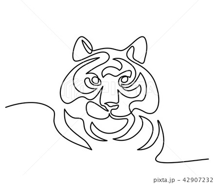 Continuous one line drawing Tiger symbol logo 42907232