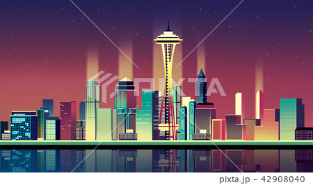 Vector - Urban City Nightscape. illustration with neon glow and vivid colors. 004 42908040