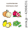 Vector - fruit and vegetable icon set for healthy food on white background 008 42908231