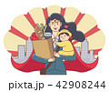 Vector - Illustration of the concept of life and work balance, super mom & business woman concept 005 42908244