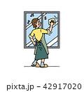 窓を拭くお母さん 42917020