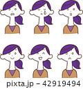 女性 表情 喜怒哀楽のイラスト 42919494