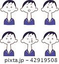 女性 表情 喜怒哀楽のイラスト 42919508