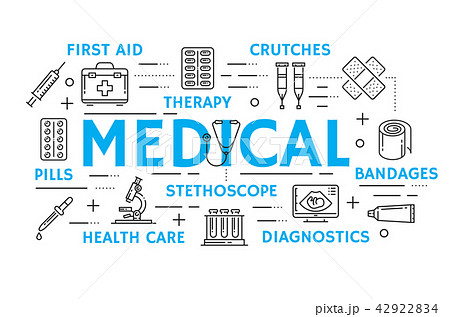 Medicine banner with health care thin line icon 42922834