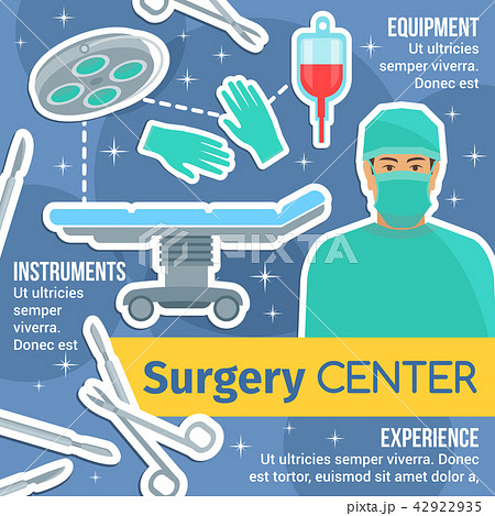 Surgery center poster with surgeon and instruments 42922935