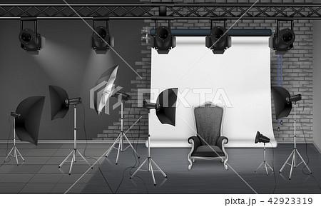 Vector photo studio interior with empty armchair 42923319