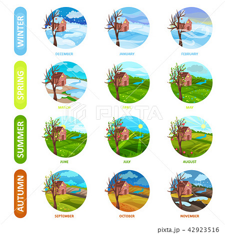 Flat vector set of 12 months of the year. Winter, spring, summer and autumn season. Nature landscape 42923516