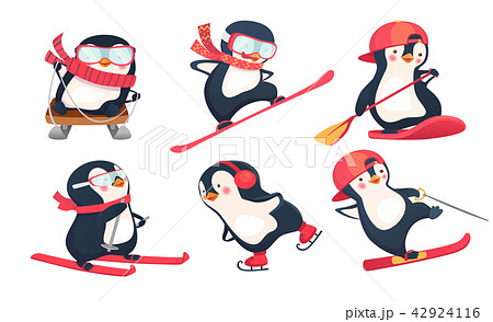 Active penguins in winter and summer set 42924116