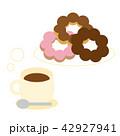 ドーナツ コーヒー おやつのイラスト 42927941